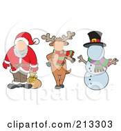Royalty Free RF Clipart Illustration Of A Digital Collage Of A Faceless Santa Reindeer And Snowman