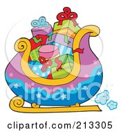 Royalty Free RF Clipart Illustration Of A Purple And Blue Santas Sleigh With Gifts