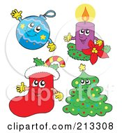 Royalty Free RF Clipart Illustration Of A Digital Collage Of Happy Christmas Characters by visekart
