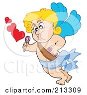 Royalty Free RF Clipart Illustration Of A Blond Eros Cupid Blowing Balloon Bubbles by visekart