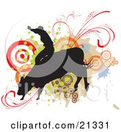 Clipart Illustration Of A Silhouetted Cowboy Holding Onto The Back Of A Bucking Rodeo Bull Over A Target And Scroll Background