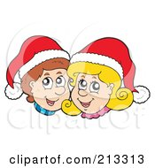 Royalty Free RF Clipart Illustration Of A Happy Christmas Boy And Girl Wearing Santa Hats by visekart