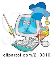 Royalty Free RF Clipart Illustration Of A PC Professor Character