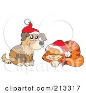 Royalty Free RF Clipart Illustration Of A Digital Collage Of A Christmas Dog And Cat