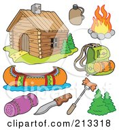 Royalty Free RF Clipart Illustration Of A Digital Collage Of A Cabin And Recreation Items by visekart