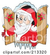 Royalty Free RF Clipart Illustration Of A Cartoon Santa Looking Out Through A Window