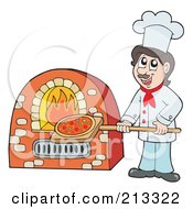 Royalty Free RF Clipart Illustration Of A Male Chef Putting Pizza In An Oven by visekart