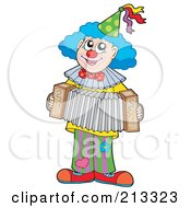 Royalty Free RF Clipart Illustration Of A Happy Clown Playing An Accordion