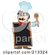 Royalty Free RF Clipart Illustration Of A Male Chef Standing Behind A Blank Blackboard
