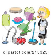 Royalty Free RF Clipart Illustration Of A Digital Collage Of A Maid And Cleaning Items