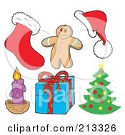 Royalty Free RF Clipart Illustration Of A Digital Collage Of Christmas Items 2 by visekart