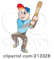 Royalty Free RF Clipart Illustration Of A Red Haired Man Batting During A Baseball Game by visekart