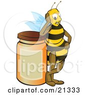 Clipart Illustration Of A Proud Honey Bee Resting His Elbow On Top Of A Full Honey Jar After A Long Day Of Gathering