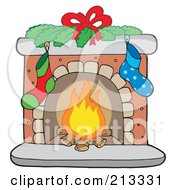 Royalty Free RF Clipart Illustration Of Logs Burning In A Christmas Fireplace by visekart
