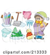 Royalty Free RF Clipart Illustration Of A Digital Collage Of A Winter Boy And Wintry Items