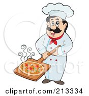 Royalty Free RF Clipart Illustration Of A Male Chef Holding A Pizza On A Plate by visekart