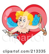 Royalty Free RF Clipart Illustration Of A Blond Eros Cupid Breaking Through A Heart by visekart