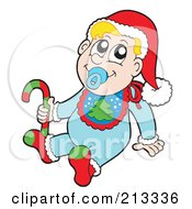 Royalty Free RF Clipart Illustration Of A Christmas Baby Wearing A Santa Hat And Christmas Bib And Holding A Candy Cane by visekart