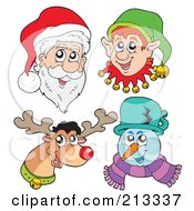 Royalty Free RF Clipart Illustration Of A Digital Collage Of Santa Elf Reindeer And Snowman Faces