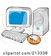 Royalty Free RF Clipart Illustration Of A PC With A Blank Blue Screen