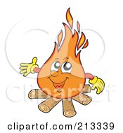 Royalty Free RF Clipart Illustration Of A Friendly Burning Campfire by visekart