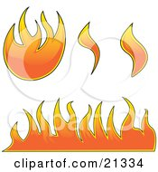 Clipart Illustration Of A Collection Of Fires Flames And Fireballs Over White