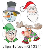 Royalty Free RF Clipart Illustration Of A Digital Collage Of Christmas Faces