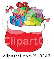 Royalty Free RF Clipart Illustration Of A Red Santa Sack Of Toys