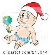 Royalty Free RF Clipart Illustration Of A Christmas Baby Wearing A Santa Hat And Holding A Rattle by visekart
