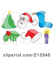 Royalty Free RF Clipart Illustration Of A Digital Collage Of Santa And Christmas Items