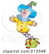 Royalty Free RF Clipart Illustration Of A Happy Clown Popping Out Of A Jack In The Box by visekart