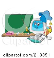 Royalty Free RF Clipart Illustration Of A PC Professor Character By A Chalk Board