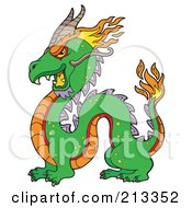 Royalty Free RF Clipart Illustration Of A Green Chinese Dragon With Flames by visekart