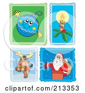 Royalty Free RF Clipart Illustration Of A Digital Collage Of Christmas Stamps 2