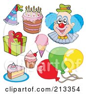 Royalty Free RF Clipart Illustration Of A Digital Collage Of A Clown And Birthday Items