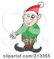 Royalty Free RF Clipart Illustration Of A Friendly Christmas Elf Presenting