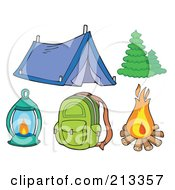 Royalty Free RF Clipart Illustration Of A Digital Collage Of A Tent And Camping Items