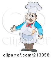 Royalty Free RF Clipart Illustration Of A Male Chef Gesturing With One Hand