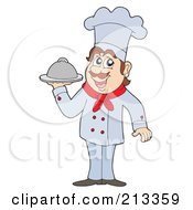Royalty Free RF Clipart Illustration Of A Male Chef Holding Up A Platter
