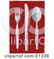 Clipart Illustration Of A Fork Knife And Spoon Laid Out On A Table