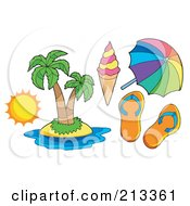 Royalty Free RF Clipart Illustration Of A Digital Collage Of A Tropical Island And Travel Items by visekart