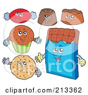 Royalty Free RF Clipart Illustration Of A Digital Collage Of Chocolate Sweet Characters