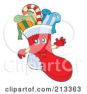 Royalty Free RF Clipart Illustration Of A Candy Cane And Presents In A Happy Stocking