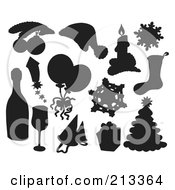 Royalty Free RF Clipart Illustration Of A Digital Collage Of Silhouetted Christmas Items 3
