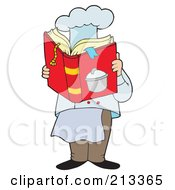 Royalty Free RF Clipart Illustration Of A Male Chef Reading A Cook Book