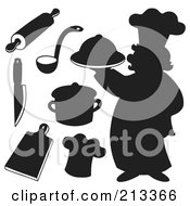 Royalty Free RF Clipart Illustration Of A Digital Collage Of A Silhouetted Chef And Kitchen Items