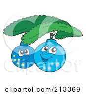 Royalty Free RF Clipart Illustration Of Two Happy Christmas Ornaments by visekart