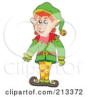 Royalty Free RF Clipart Illustration Of A Friendly Christmas Elf Gesturing by visekart
