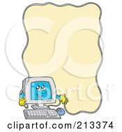Royalty Free RF Clipart Illustration Of A PC Character With A Cable Border Around Yellow by visekart