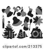 Royalty Free RF Clipart Illustration Of A Digital Collage Of Silhouetted Christmas Items 2